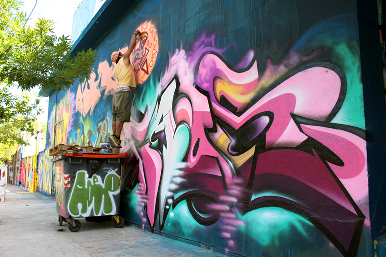 martin caos + kumbo + cube at Meeting of styles urban art festval Buenos Aires