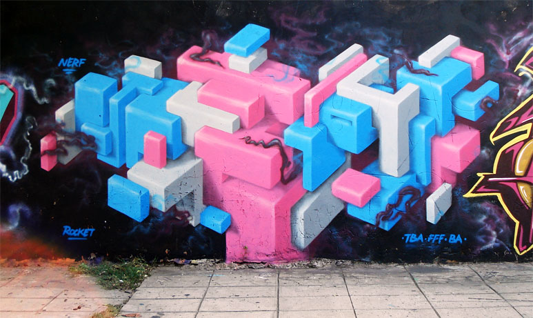 cubes by buenos aires graffiti artist nerf