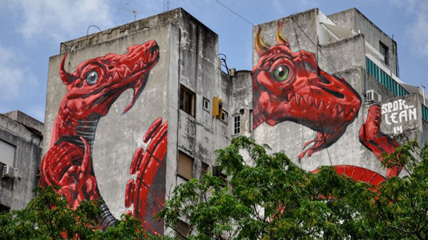 Painted medianera by Spok and Lean Frizzera as part of Proyecto Duo, Palermo
